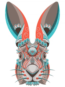 Ritratto di coniglietto colorato stilizzato su sfondo bianco