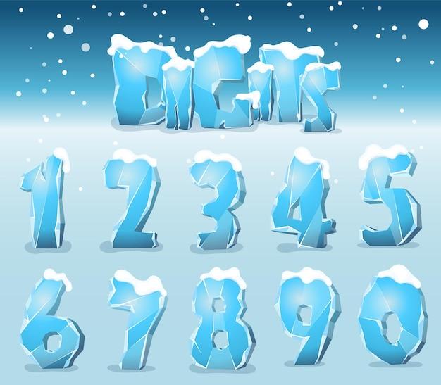 Cifre stilizzate dal ghiaccio con crepe, carattere vettoriale