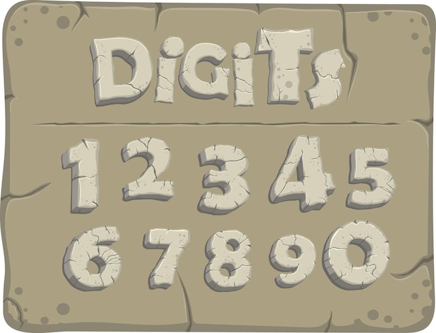Cifre stilizzate dell'età della pietra con crepe, carattere vettoriale