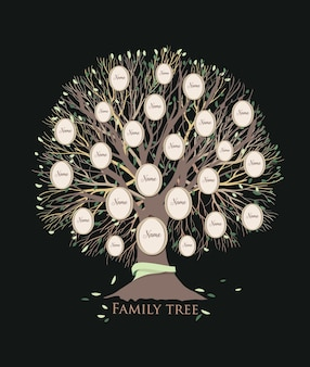 Stilizzato modello di albero genealogico o albero genealogico con rami e cornici rotonde isolati su sfondo nero