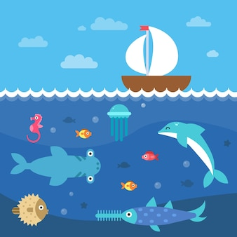 Illustrazioni piatte stilizzate della vita sottomarina. paesaggio sottomarino e viaggio in barca a vela