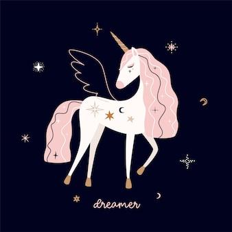 Unicorno stilizzato stile piatto. moderna tavolozza pastello su sfondo scuro. carino girly art. illustrazione.