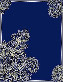 Fiore stilizzato in stile mehndi. cornice nella tradizione orientale.