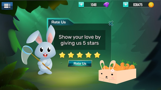Elementi dell'interfaccia utente di gioco stilizzati menu pop-up