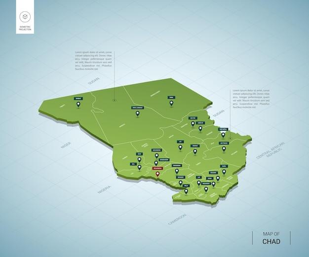 Mappa stilizzata della mappa verde 3d isometrica del ciad con città, confini, capitale ndjamena, regioni