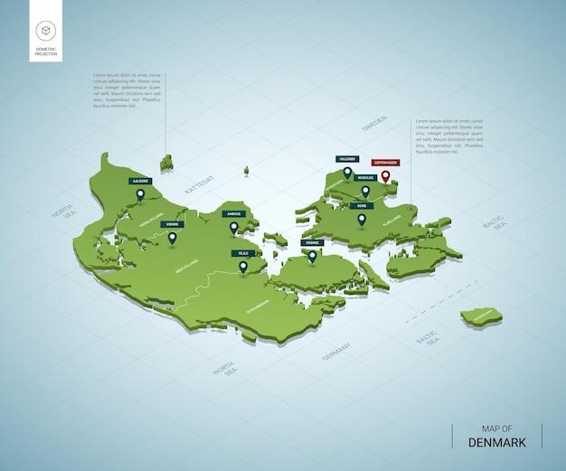 Mappa stilizzata della danimarca.