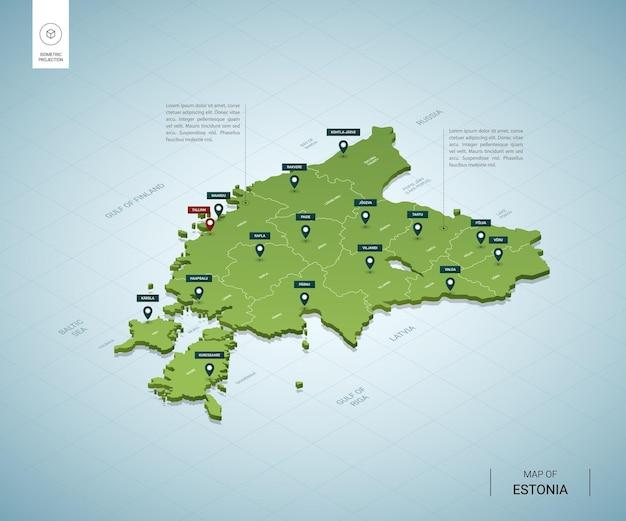 Mappa stilizzata dell'estonia.