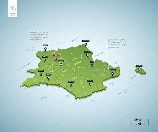 Mappa stilizzata della mappa verde 3d isometrica della francia con città, confini, capitale parigi, regioni