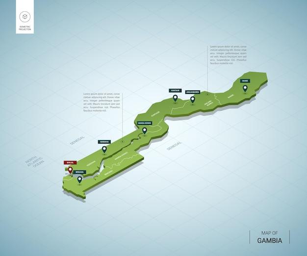 Mappa stilizzata della gambia.