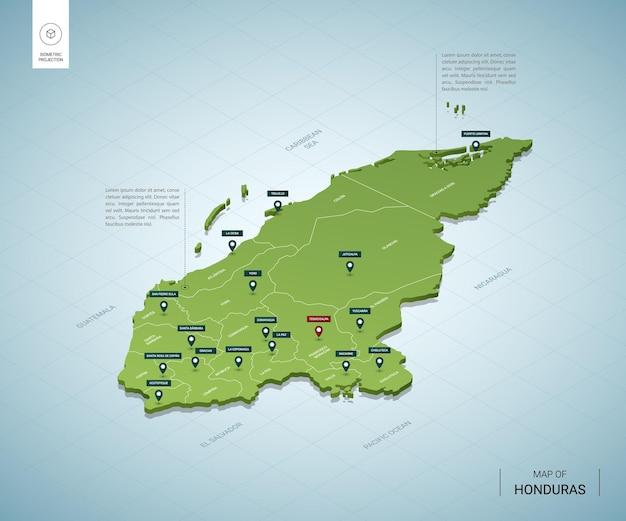 Mappa stilizzata dell'honduras.