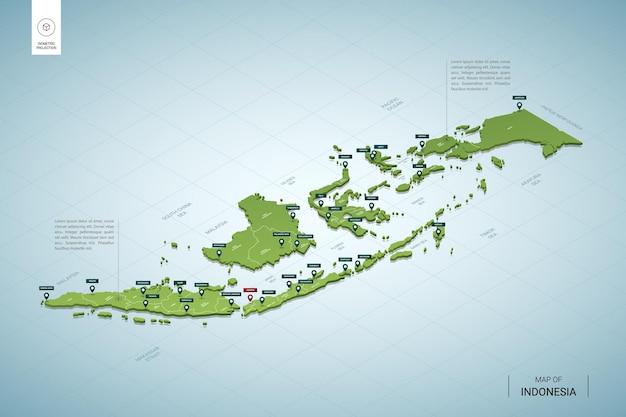 Mappa stilizzata dell'indonesia.