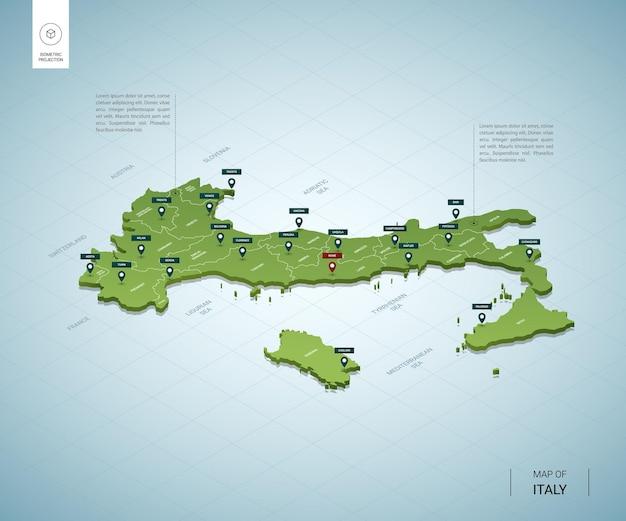 Mappa stilizzata della mappa verde 3d isometrica dell'italia con le città