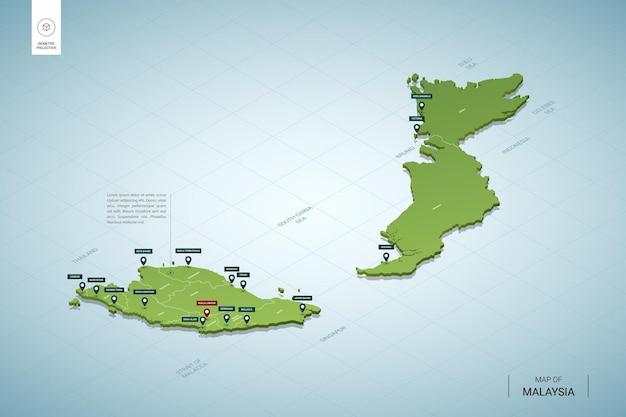 Mappa stilizzata della malesia. mappa verde isometrica 3d con città, confini, capitale kuala lumpur, regioni.