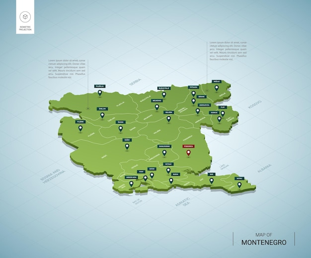 Mappa stilizzata della mappa verde 3d isometrica del montenegro con città, confini, capitale podgorica, regioni