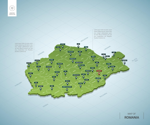 Mappa stilizzata della romania. mappa verde isometrica 3d con città, confini, capitali, regioni.