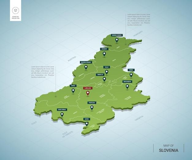 Mappa stilizzata della slovenia. mappa verde isometrica 3d con città, confini, capitale lubiana, regioni.