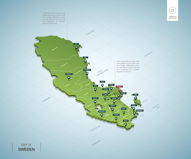 Mappa stilizzata della mappa verde 3d isometrica della svezia con città, confini, capitale stoccolma, regioni
