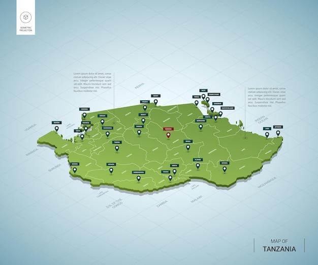 Mappa stilizzata della mappa verde 3d isometrica della tanzania con città, confini, capitali, regioni