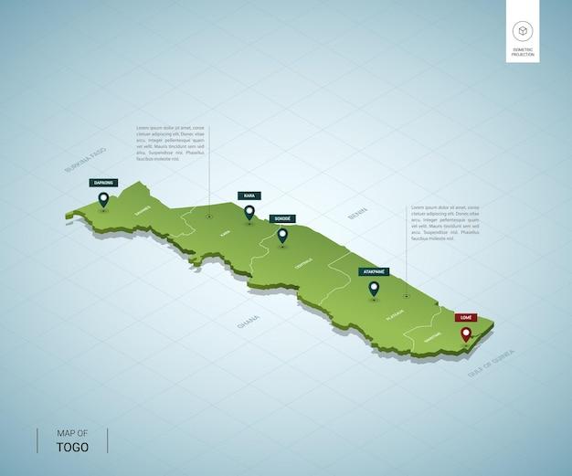 Mappa stilizzata della mappa verde 3d isometrica del togo con città, confini, capitali, regioni