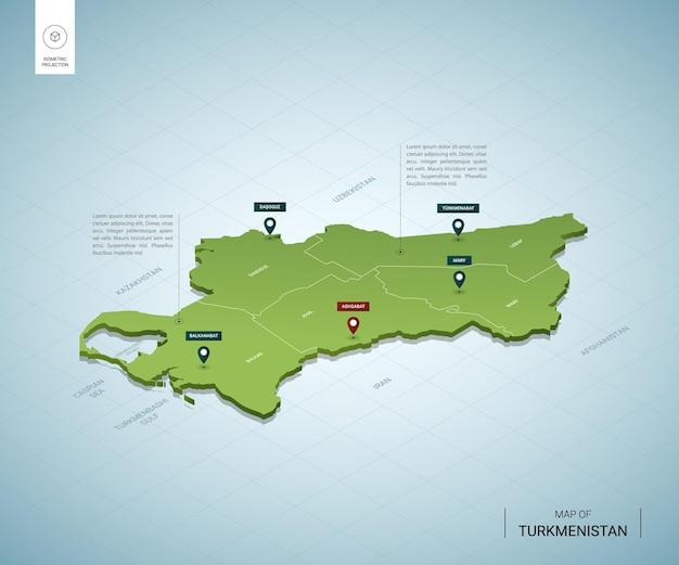 Mappa stilizzata della mappa verde 3d isometrica del turkmenistan con città, confini, capitale ashgabat, regioni