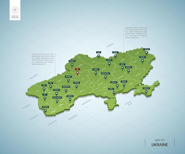 Mappa stilizzata dell'ucraina isometrica 3d mappa verde con città, confini, capitale kiev, regioni