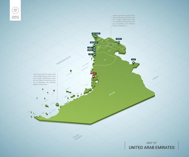 Mappa stilizzata degli emirati arabi uniti. mappa verde isometrica 3d con città, confini, capitale abu dhabi, regioni.