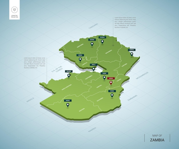 Mappa stilizzata dello zambia.