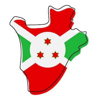 Mappa di contorno stilizzato del burundi con l'icona della bandiera nazionale. mappa di colore bandiera del burundi illustrazione vettoriale.