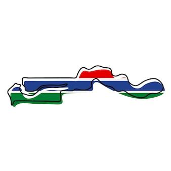 Mappa di contorno stilizzato del gambia con l'icona della bandiera nazionale. mappa dei colori della bandiera dell'illustrazione vettoriale del gambia.