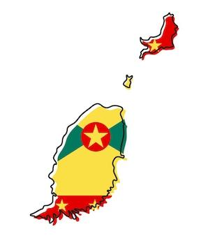 Mappa di contorno stilizzato di grenada con l'icona della bandiera nazionale. mappa dei colori della bandiera dell'illustrazione vettoriale di grenada.