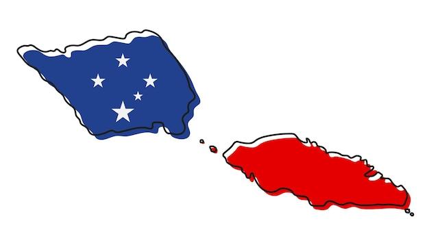 Mappa di contorno stilizzato di samoa con l'icona della bandiera nazionale. mappa dei colori della bandiera dell'illustrazione vettoriale di samoa.