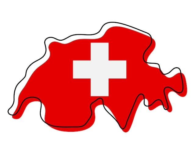 Mappa di contorno stilizzato della svizzera con l'icona della bandiera nazionale. mappa di colore bandiera della svizzera illustrazione vettoriale.
