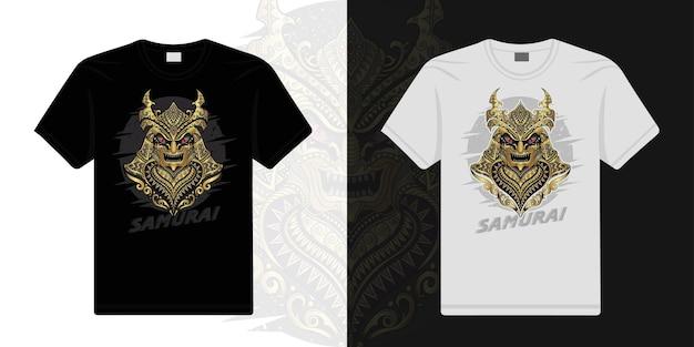 Samurai stilizzato nel vettore etnico sfondo bianco e nero