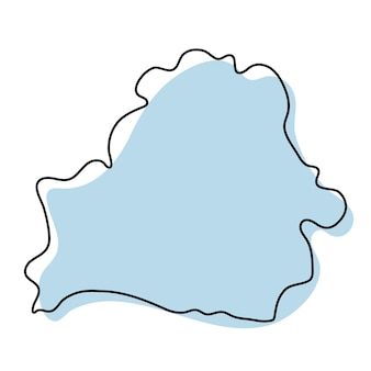 Semplice mappa stilizzata dell'icona della bielorussia. mappa di schizzo blu della bielorussia illustrazione vettoriale