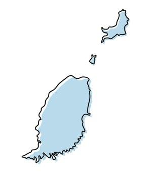 Semplice mappa stilizzata dell'icona di grenada. mappa di schizzo blu dell'illustrazione vettoriale di grenada