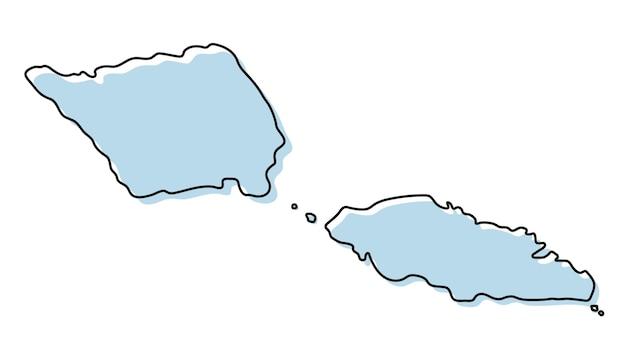 Semplice mappa stilizzata dell'icona di samoa. mappa di schizzo blu dell'illustrazione vettoriale di samoa