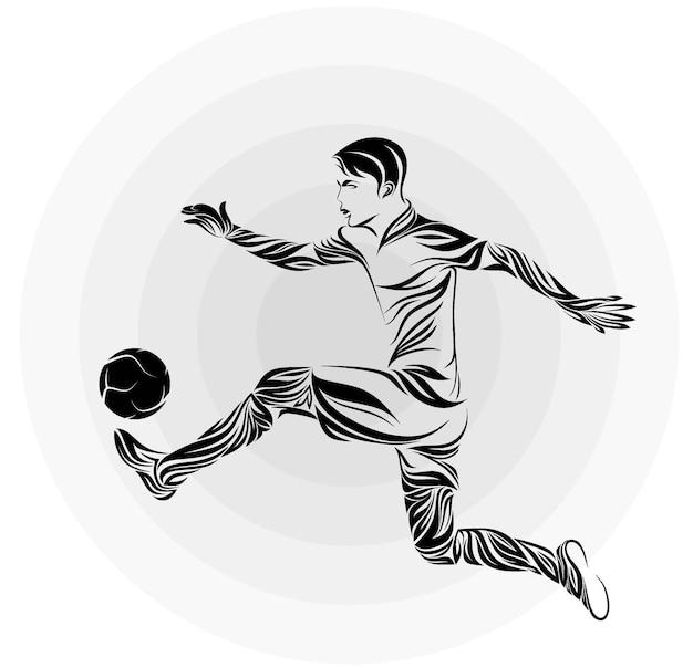 Stilizzato di un giocatore di calcio nello stile di zentangle.