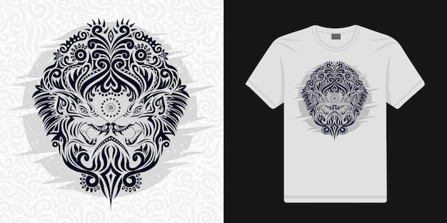Il lupo stilizzato floreale nel vettore etnico può essere utilizzato per le magliette
