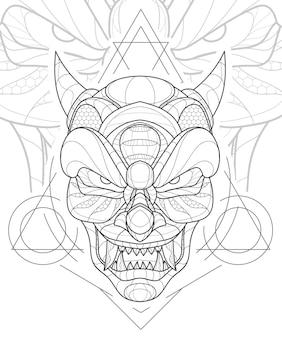 Illustrazione stilizzata della maschera del demone cinese di arte della linea zentangle