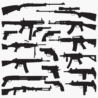 Submachine guns silhouettes