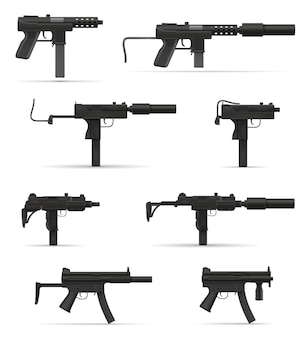 Mitragliatrice mitragliatrice armi su bianco
