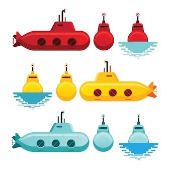 Stile cartone animato sottomarino, giallo, rosso e blu, vista laterale e frontale