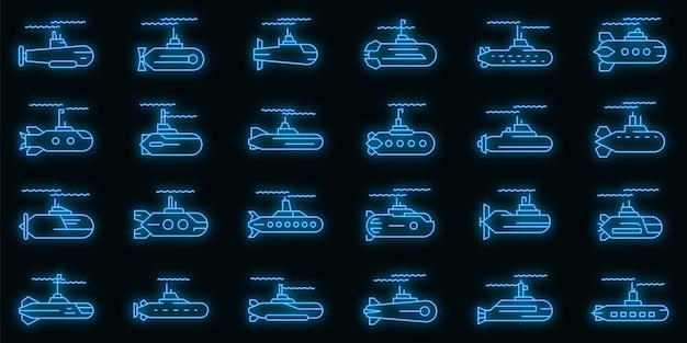 Set di icone sottomarino. contorno set di icone vettoriali sottomarino colore neon su nero