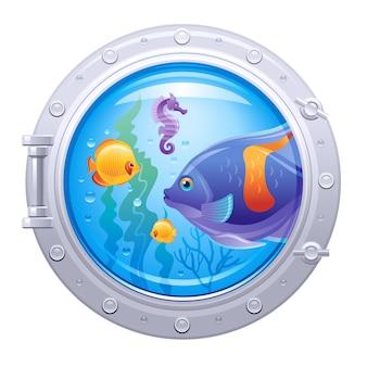 Oblò sottomarino con vita sottomarina colorata, cavalluccio marino e pesci tropicali, isolati.