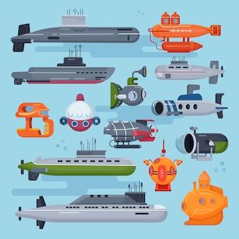 Sottomarino sottomarino o barca a vela marina sott'acqua e trasporto nave nell'oceano profondo illustrazione set nautico di spedizione barca con trasporto sottomarino periscop isolato su sfondo