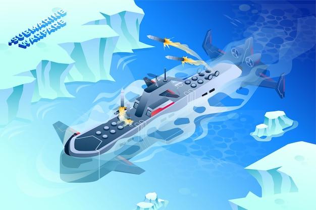 Guerra sottomarina - illustrazione isometrica