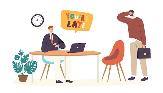 Personaggio maschile subordinato che riceve un rimprovero dal capo per essere arrivato troppo tardi alla riunione di lavoro, direttore dell'azienda che rimprovera un manager non puntuale che indica l'orologio da polso. cartoon persone illustrazione vettoriale
