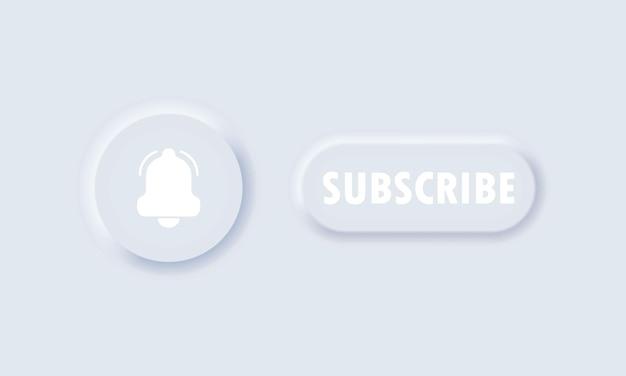 Pulsante iscriviti. concetto di social media. segno di notifica. seguendo per canale. stile neumorfismo.