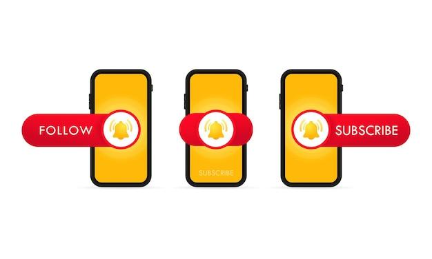 Iscriviti al modello del pulsante con il campanello di notifica sullo schermo dello smartphone