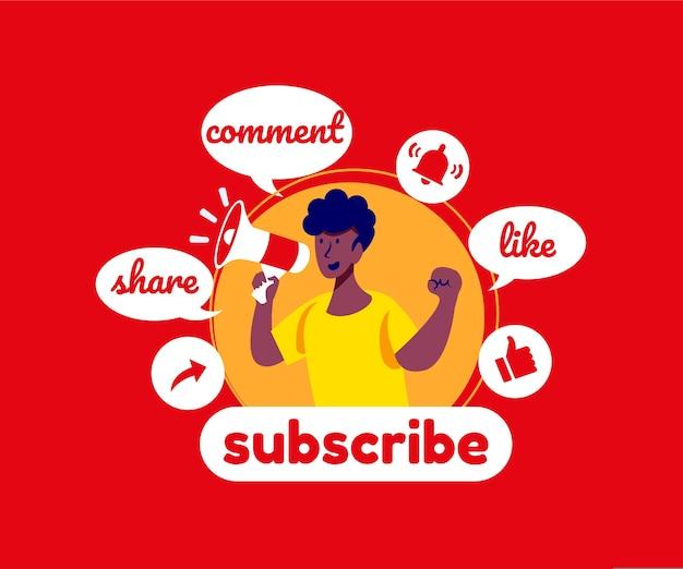 Sottoscrivi commenti e metti mi piace sui social media di youtube